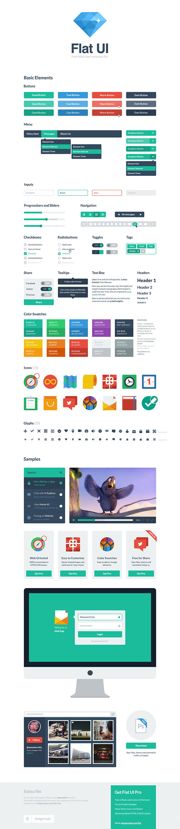 Free Flat Square User Interface Kit