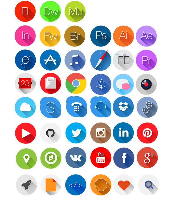 45 free rounded flat icons