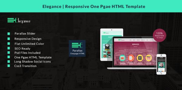 Elegance – Free Responsive One Page HTML Template