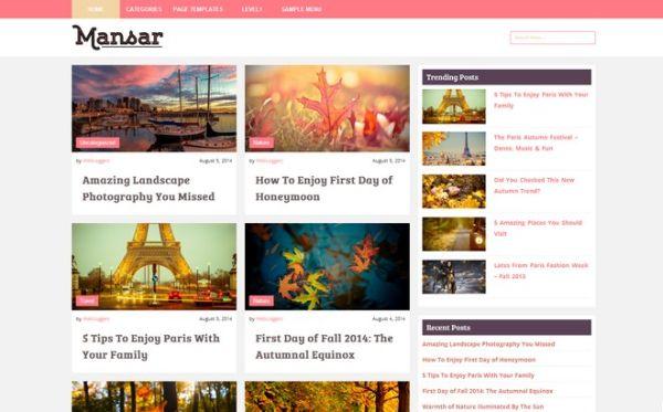 Mansar-free blogging WordPress theme
